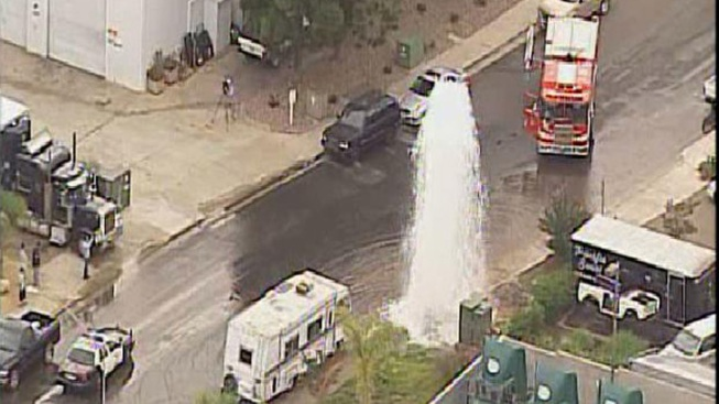 Truck Hits Hydrant in Miramar