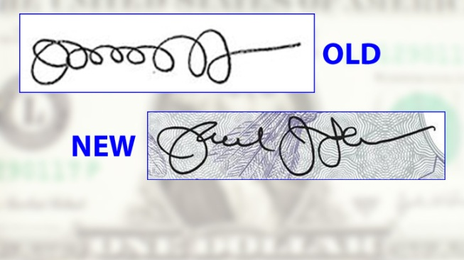Treasury Secretary Unveils New, Less Loopy Signature for Dollar Debut