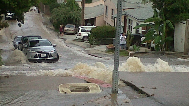 Water Main Break Floods Streets in North Park