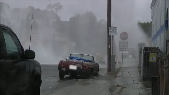 Sheared Off Hydrant Floods Street in Pacific Beach