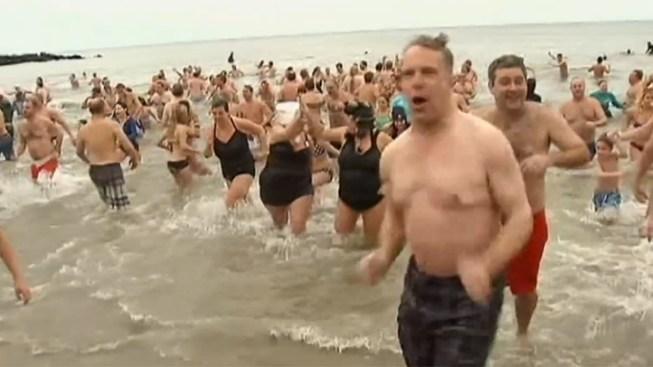 Dozens Brave Chilly La Jolla Waters in 'Polar Bear Plunge'