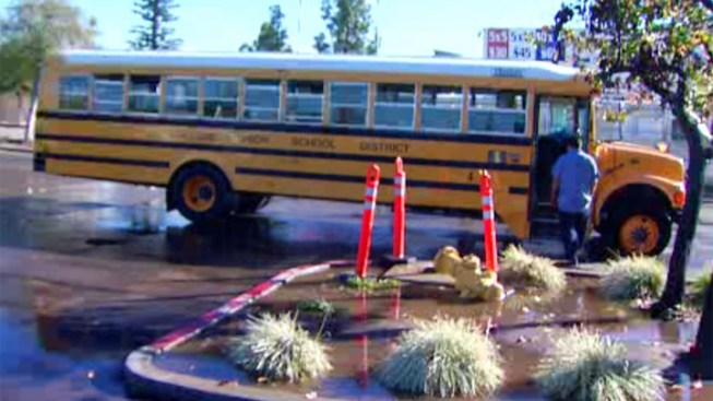 School Bus Knocks Over Hydrant