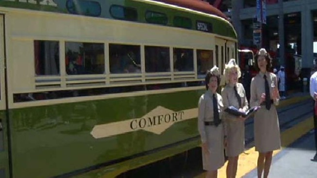 Vintage Trolley Rolls Downtown