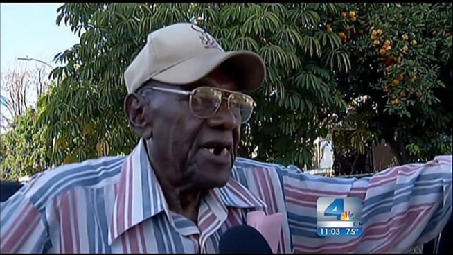 A 100-year-old driver of a Cadillac was backing out of a supermarket when he says he lost control of his car, backing into 11 people, nine of them children.  His family says he has