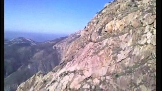 Two hikers were pulled to safety Sunday from a point 2600 feet up on El Cajon Mountain near the El Capitan reservoir. Video provided by the San Diego County Sheriff's Department.