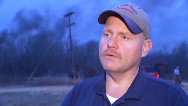 RAW VIDEO: Van Zandt fire marshal Chuck Allen discusses the explosion and fire at an oil facility near Van, TX.