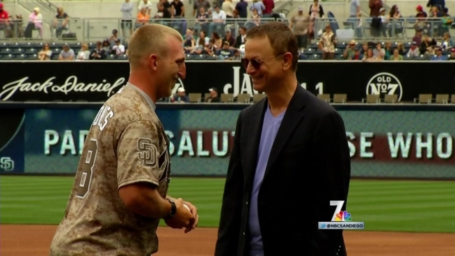 Whilst gary Sinise, Injured Veterans Privileged at Padres  <b> Military </b>  Time