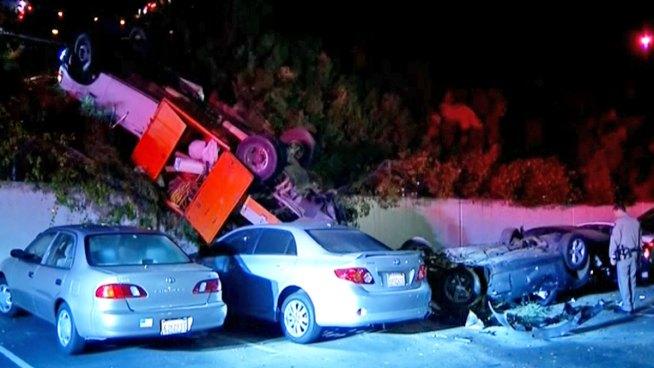 vehicles drive off i 5 crash into parking lot below nbc 7 san diego. Black Bedroom Furniture Sets. Home Design Ideas