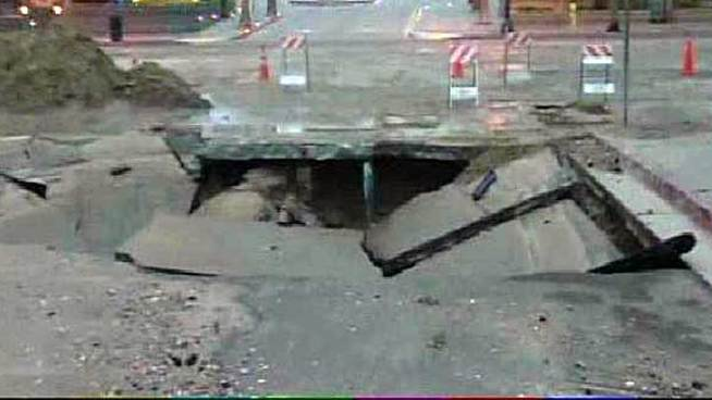Sinkhole Opens at Downtown Intersection