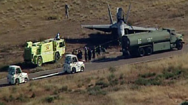 F/A-18 Slides Off Runway at Miramar