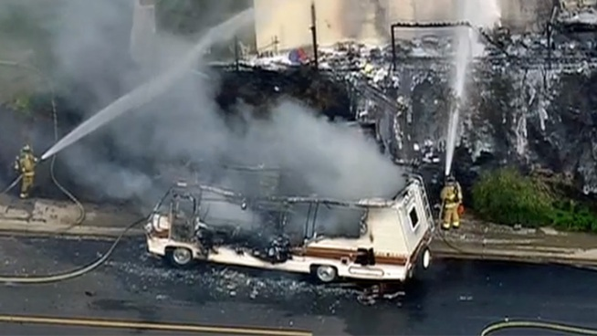 Motor Home Catches Fire in Poway