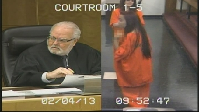 Penelope Soto is sentenced to 30 days in jail for contempt of court after she gives Miami-Dade Circuit Judge Jorge Rodriguez-Chomat the finger during a bond hearing.