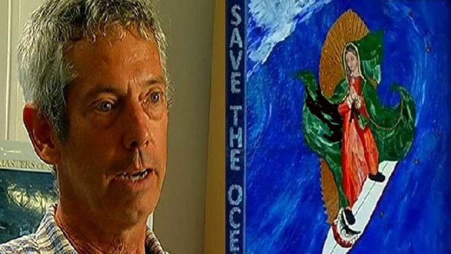 Leucadia resident Mark Patterson quit his job at Microsoft last summer, enrolled in a mosaic school in Italy and created the so-called Surfing Madonna as a gift for his community. His identity was supposed to be kept a secret forever- but he made one mistake. Mari Payton reports.