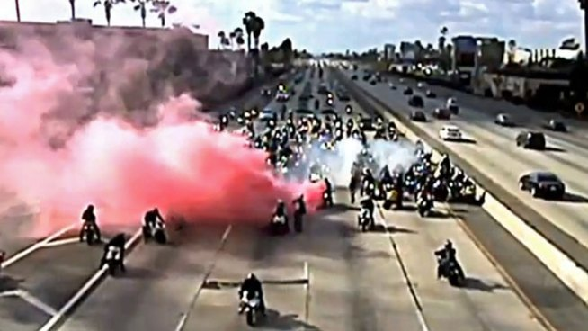 The CHP is investigating a group of about 300 motorcyclists who <a href=