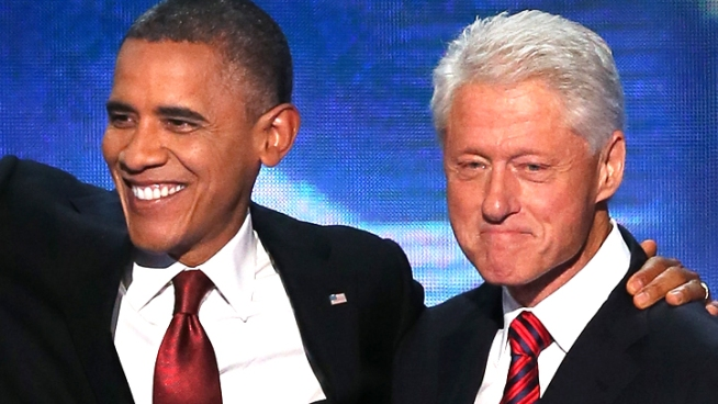 Bill Clinton addressed the Democratic National Convention and nominated Barack Obama. Obama and Clinton embraced onstage shortly after the conclusion of the speech.
