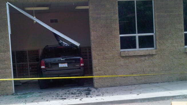 Car Crashes Into Post Office