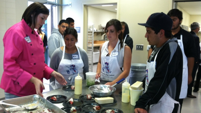 High School Students Cook in Professional Kitchen