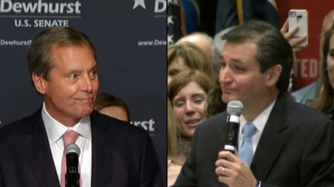 Tea party candidate Ted Cruz beat Lt. Gov. David Dewhurst for the Republican nomination for Sen. Kay Bailey Hutchison's seat.
