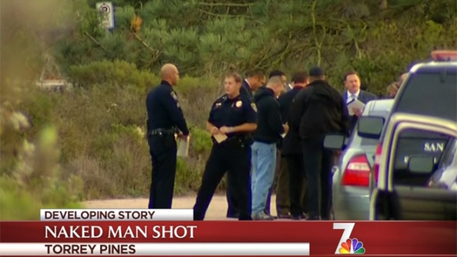A naked man was shot at by a Park Ranger Thursday afternoon after he displayed what appeared to be a knife and machete.