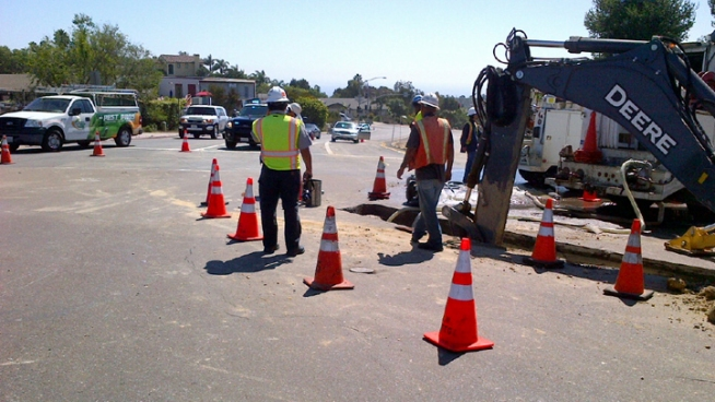 Traffic Stalled for La Jolla Water Main Break