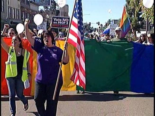 Prop 8 Protesters Rally Near Mormon Temple