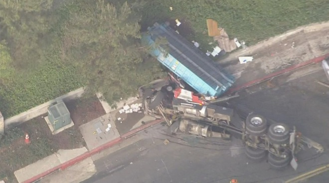 LAPD Officer Killed, 2 Hospitalized in Crash With Dump Truck
