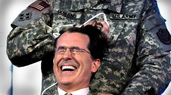 Stephen Colbert Shaves Head for U.S. Troops