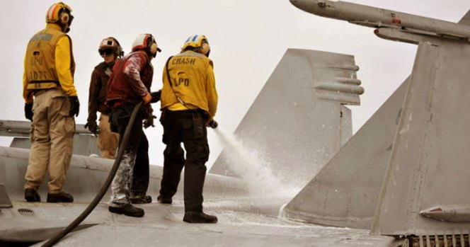 Jet Catches Fire on USS Carl Vinson