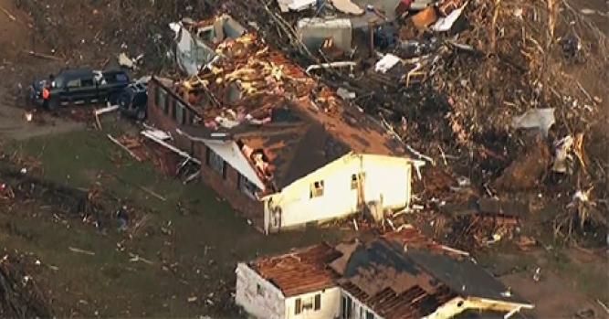 Aerial Footage Shows Tornado's Path of Destruction