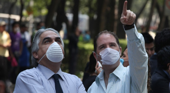 Mexico Reels From Quake, Swine Flu