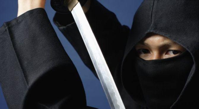Ninja Robs Dry-Cleaner With Samurai Sword