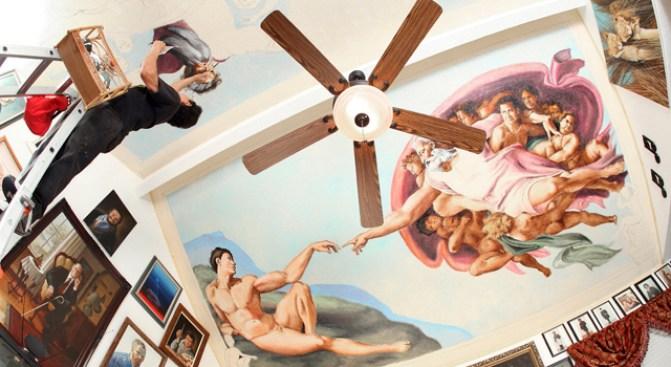Man Paints Sistine Chapel on Living Room Ceiling