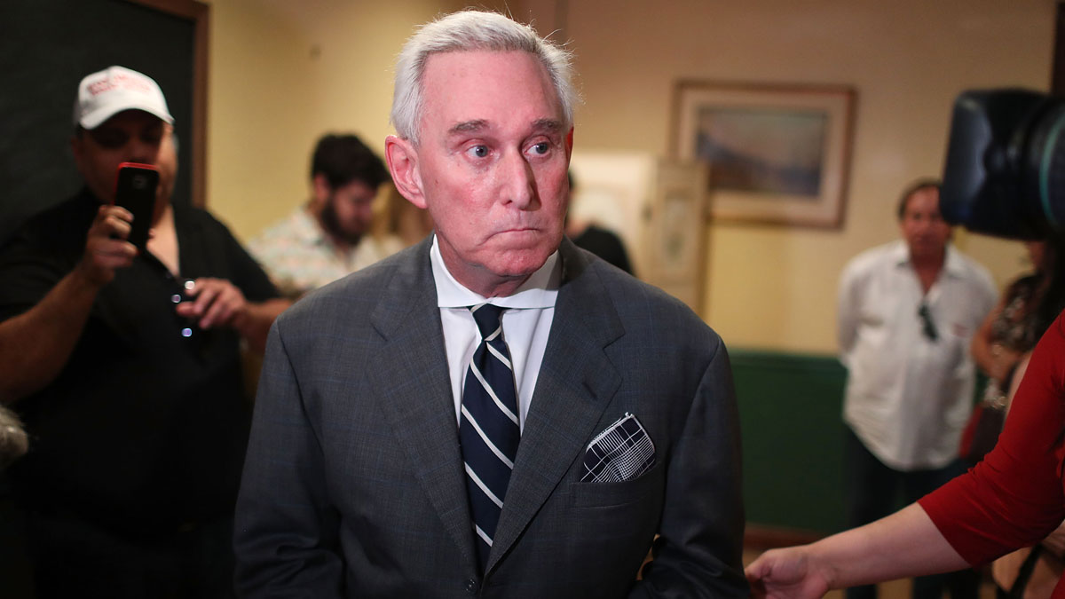 This May 22, 2017, file photo shows Roger Stone, a longtime political adviser and friend to President Donald Trump, on a visit to the Women's Republican Club of Miami, Federated, in Coral Gables, Florida.