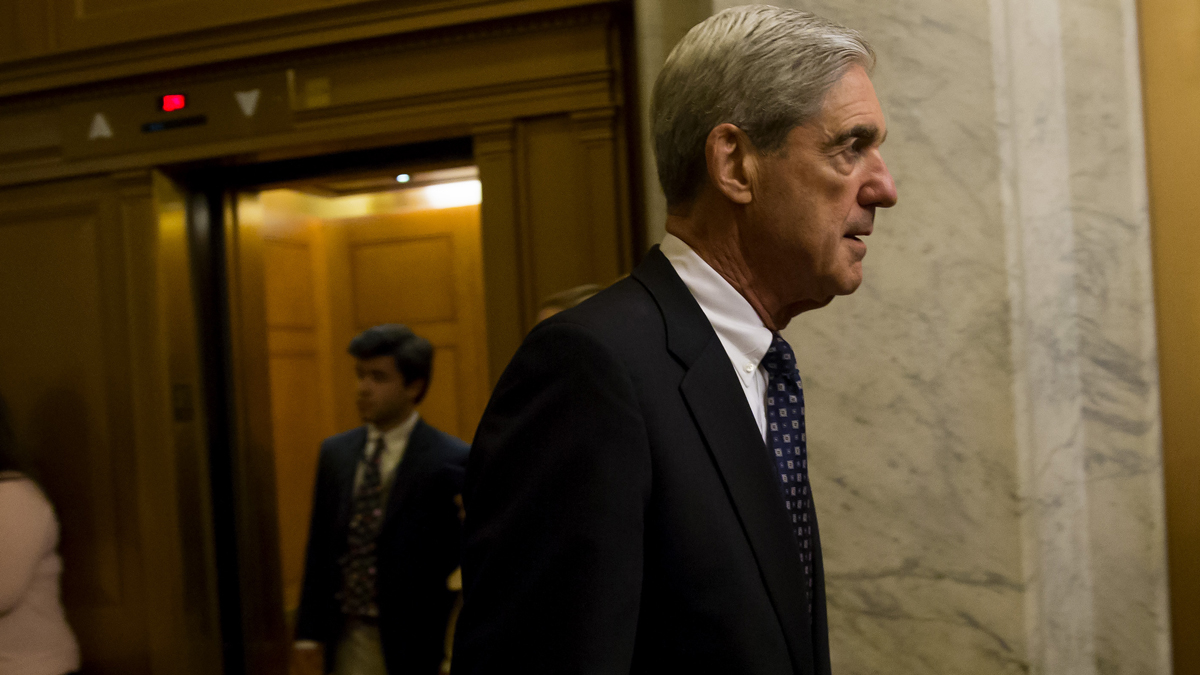 This June 21, 2017, file photo shows special counsel Robert Mueller leave a meeting with members of the Senate Judiciary Committee in Washington, D.C.