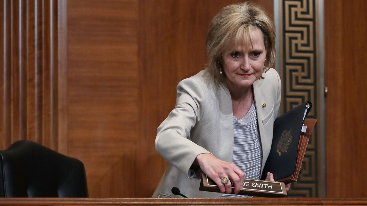 This May 10, 2018, file photo shows Sen. Cindy Hyde-Smith, R-Miss., ahead of a Senate appropriations subcommittee hearing on Capitol Hill in Washington, D.C.