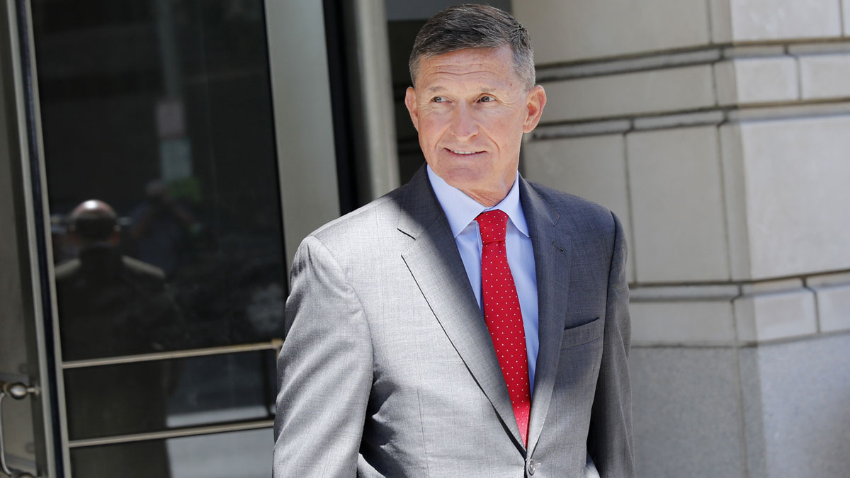 This July 10, 2018, file photo shows Michael Flynn, former national security adviser to President Donald Trump, depart the a federal courthouse in Washington, D.C., following a pre-sentencing hearing