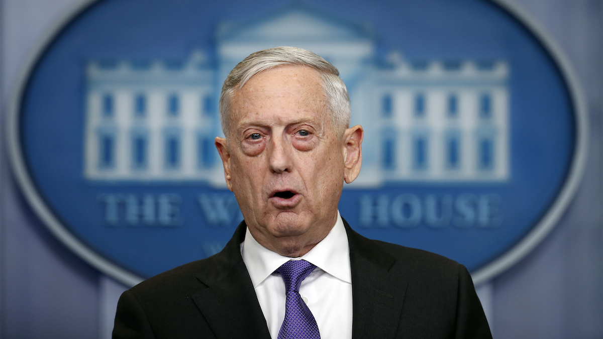 In this file photo, Defense Secretary Jim Mattis speaks during the daily news briefing at the White House, in Washington, Wednesday, Feb. 7, 2018.