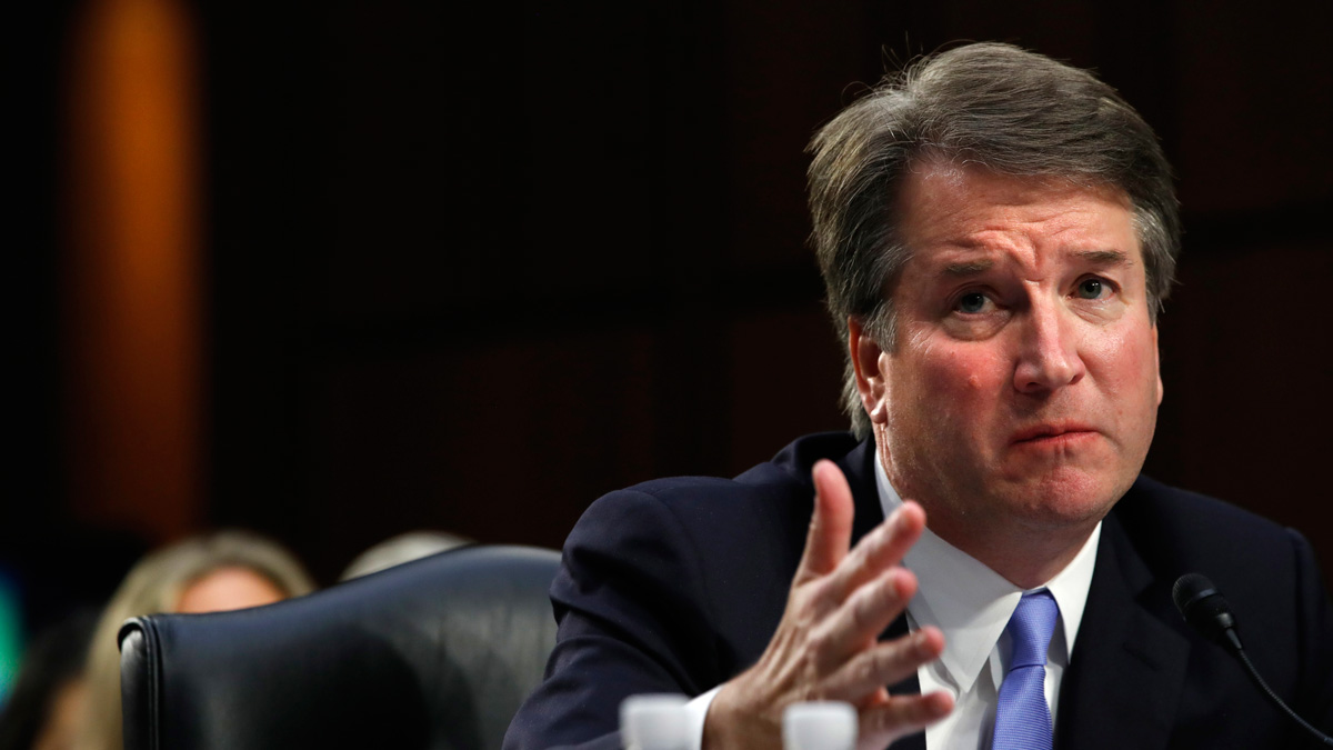 President Donald Trump's Supreme Court nominee, Brett Kavanaugh, answers a question about guns from Sen. Richard Blumenthal, D-Conn., during a third round of questioning on the third day of his Senate Judiciary Committee confirmation hearing, Thursday, Sept. 6, 2018, on Capitol Hill in Washington, to replace retired Justice Anthony Kennedy.