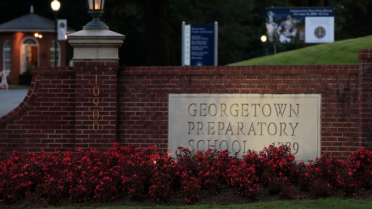 The entrance to the Georgetown Preparatory School Bethesda, Md., is shown, Wednesday, Sept. 19, 2018.