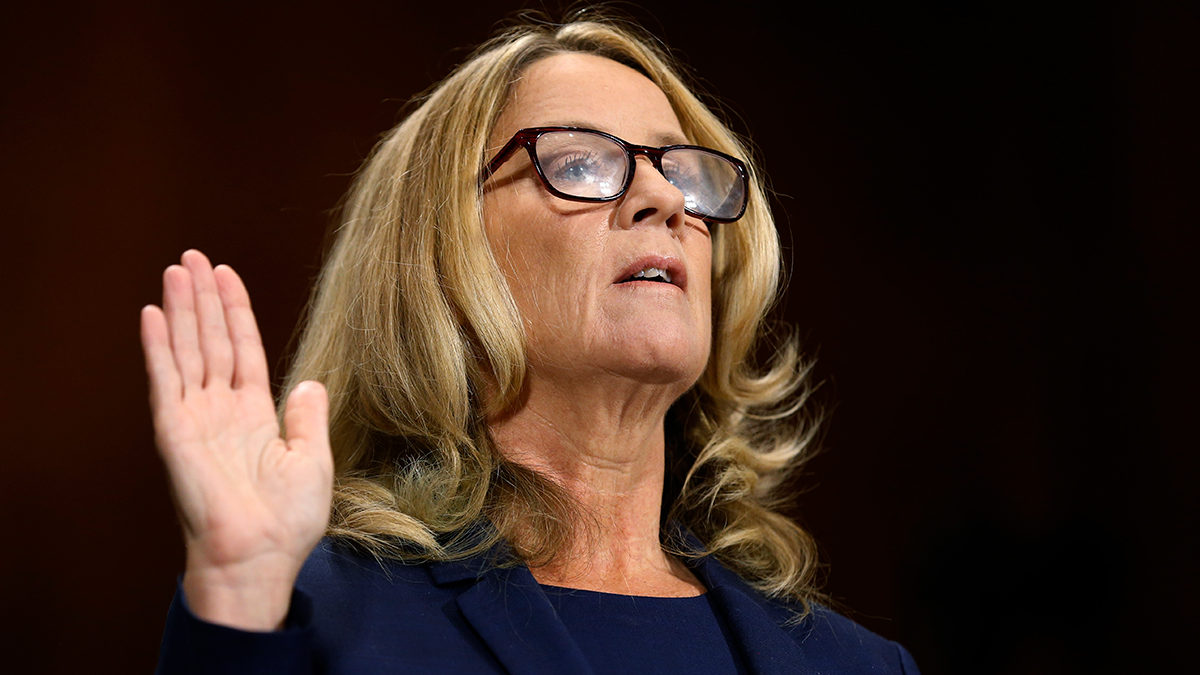 Christine Blasey Ford is sworn in before the Senate Judiciary Committee, Thursday, Sept. 27, 2018, on Capitol Hill in Washington.