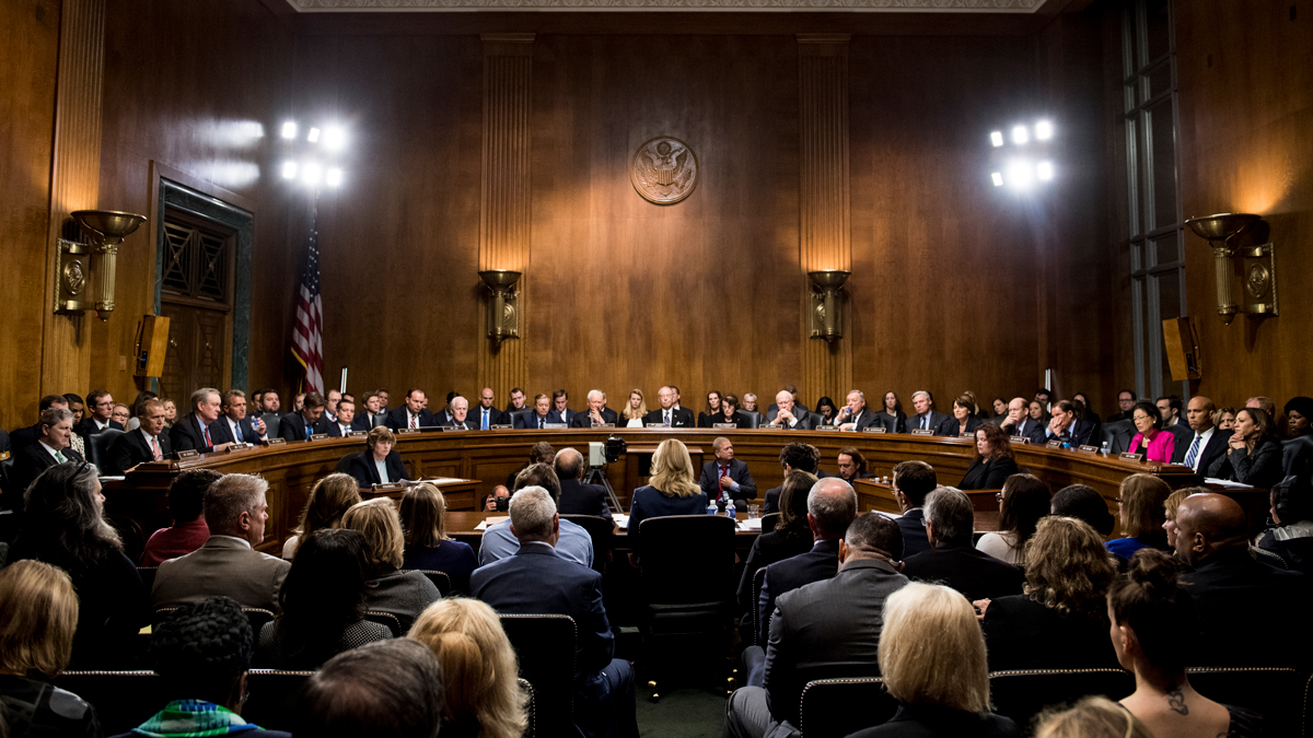 Christine Blasey Ford testifies before the Senate Judiciary Committee, Thursday, Sept, 27, 2018 on Capitol Hill in Washington.