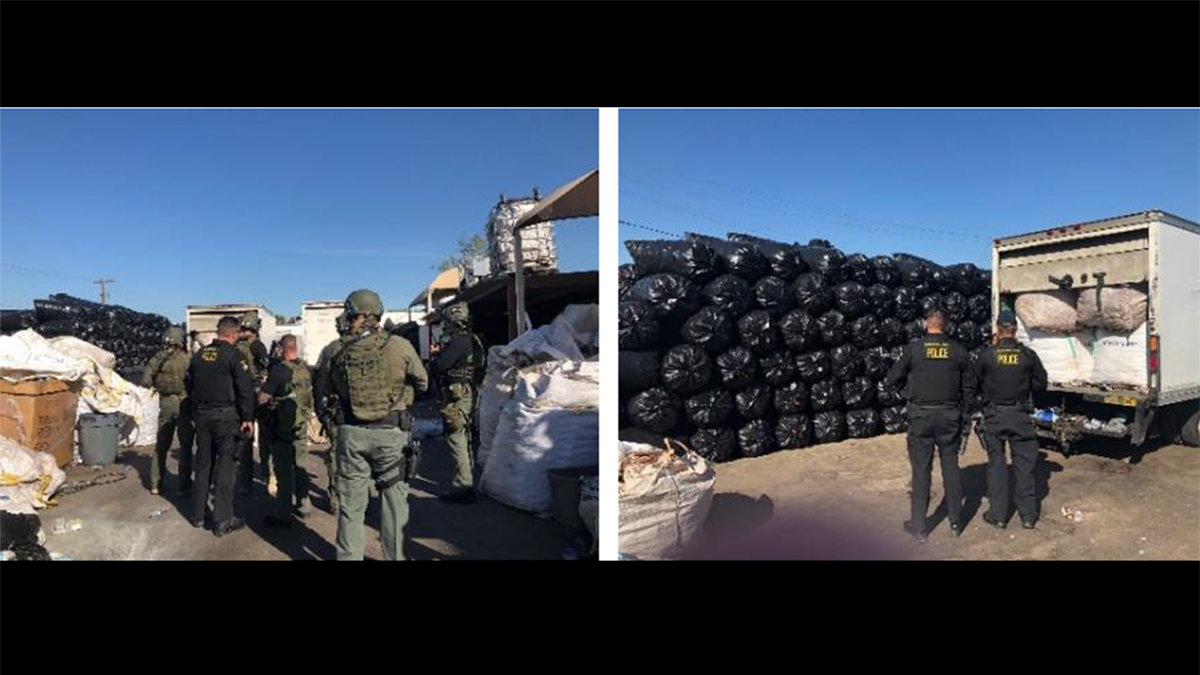 Images of the operation from the California Department of Justice. The trash bags are believed to hold plastic containers headed to California to be recycled for cash.