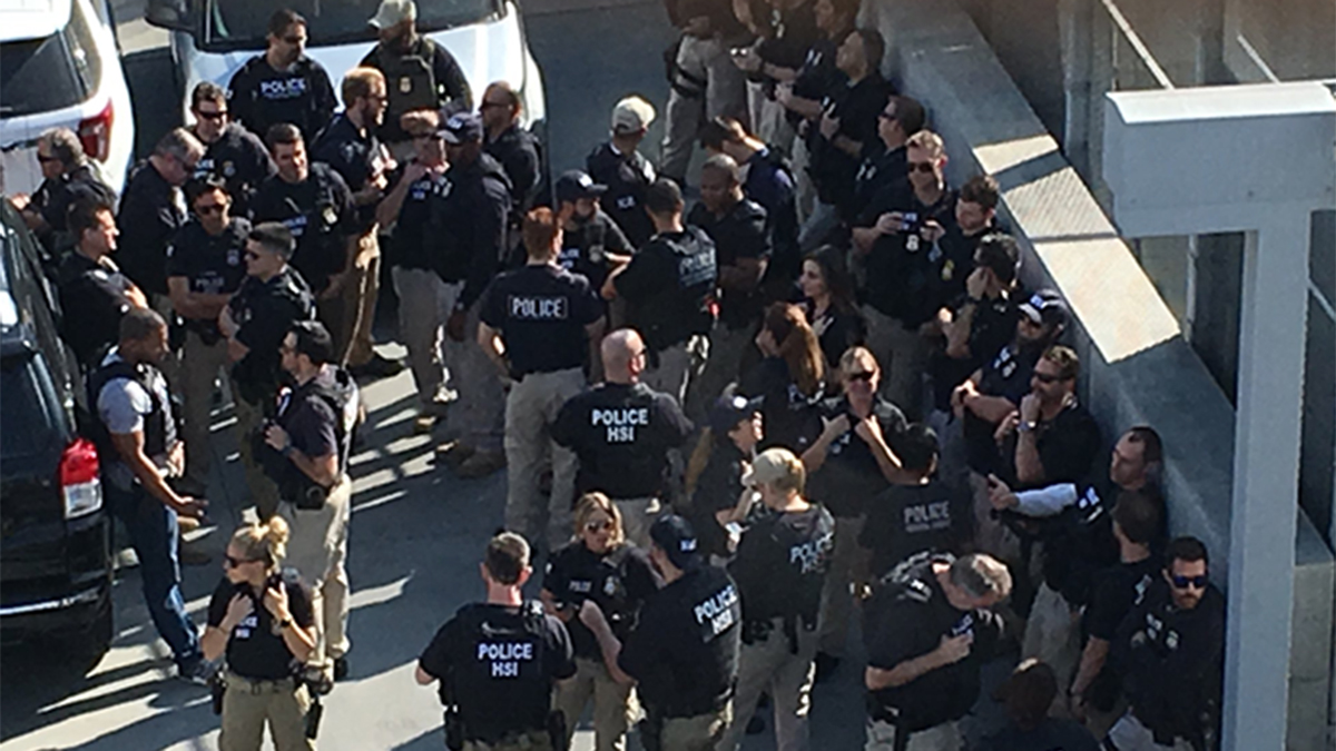 Homeland Security officials were also staging in the area for the planned drill at the busy border crossing in south San Diego.