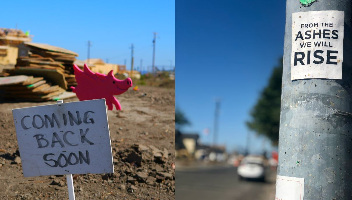Signs of hope and rebuilding in Coffey Park.