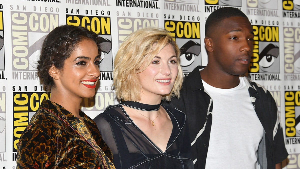 Left to right, Mandip Gill, Jodie Whittaker and Tosin Cole attend BBC America's