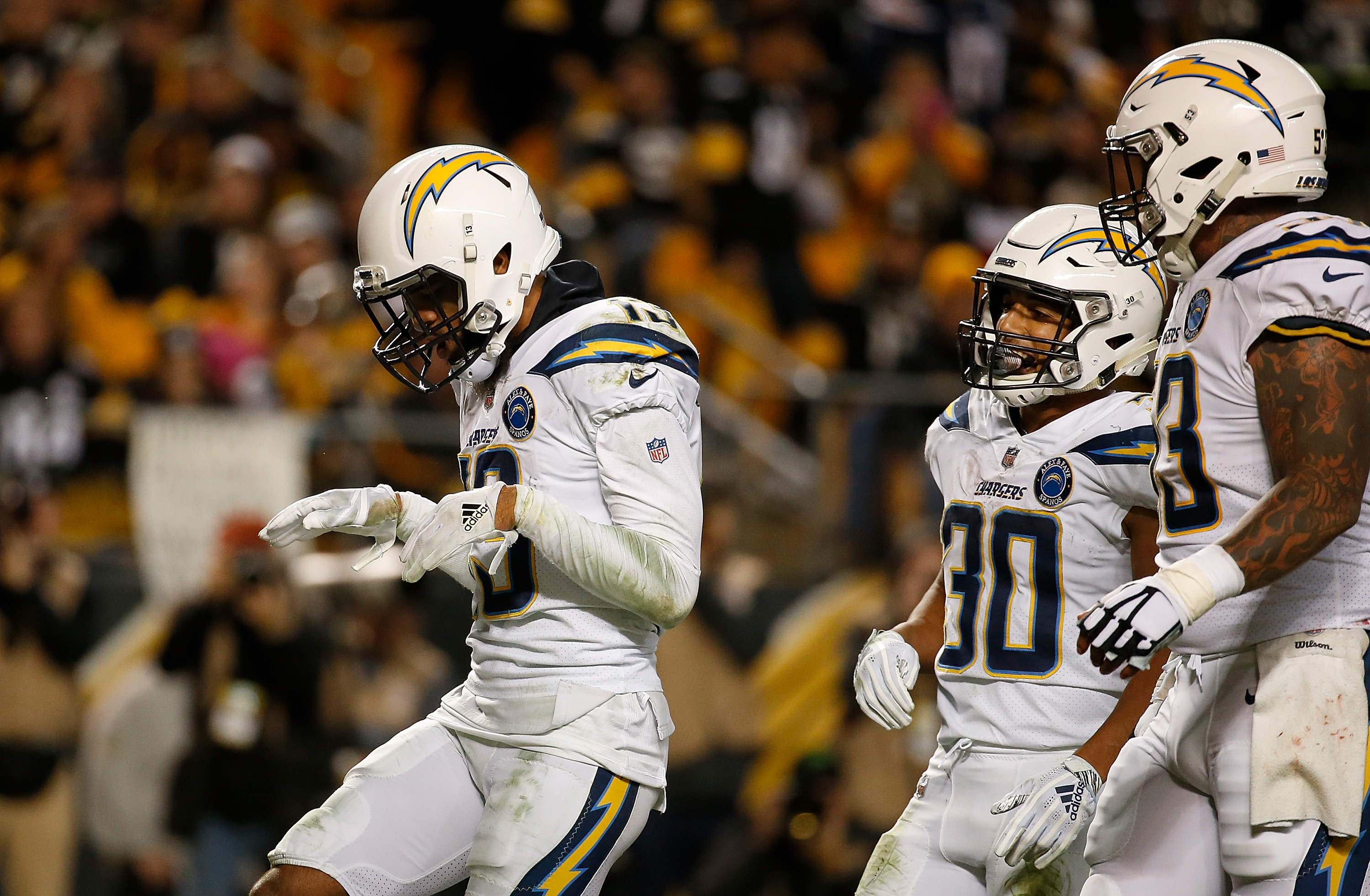 Keenan Allen(13) of the Los Angeles Chargers reacts after a 10-yard touchdown reception in the third quarter during the game against the Pittsburgh Steelers at Heinz Field on Dec. 2, 2018, in Pittsburgh, Pennsylvania. (Photo by Justin K. Aller/Getty Images)