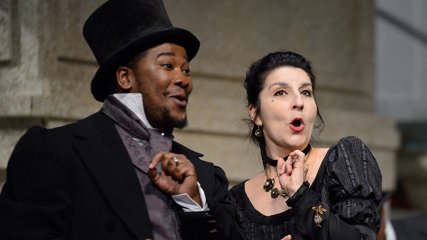 CAPE TOWN,SOUTH AFRICA - OCTOBER 16: Violina Anguelov as Marcellina and Lukhanyo Moyake as Don Basilio perform during the Marriage of Figaro at the Cape Town Opera on October 16,2014 in Cape Town, South Africa. (Photo by John Snelling/Getty Images)