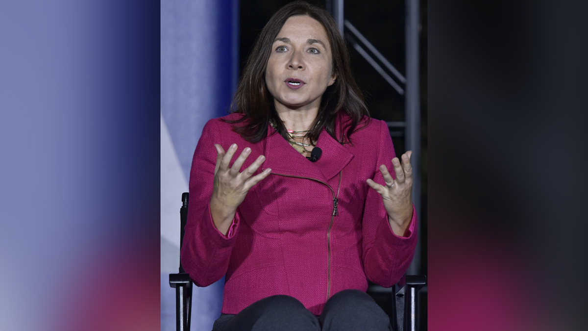 Climate scientist Katharine Hayhoe speaks during a discussion on climate change at the South by South Lawn festival on the South Lawn of the the White House on Oct. 3, 2016, in Washington, DC.