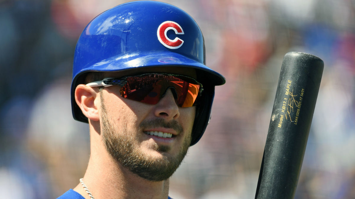 Kris Bryant #17 of the Chicago Cubs waits to bat against the Cincinnati Reds during their exhibition game at Cashman Field on March 25, 2017 in Las Vegas, Nevada. The Cubs won 11-7. (Photo by Ethan Miller/Getty Images)
