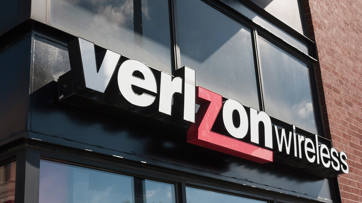 A sign hangs outside of a Verizon store on April 20, 2017 in Chicago, Ill.